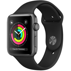 Apple Watch Series 3 38mm Space Grey Aluminium Case with Black Sport Band (MTF02GK/A)